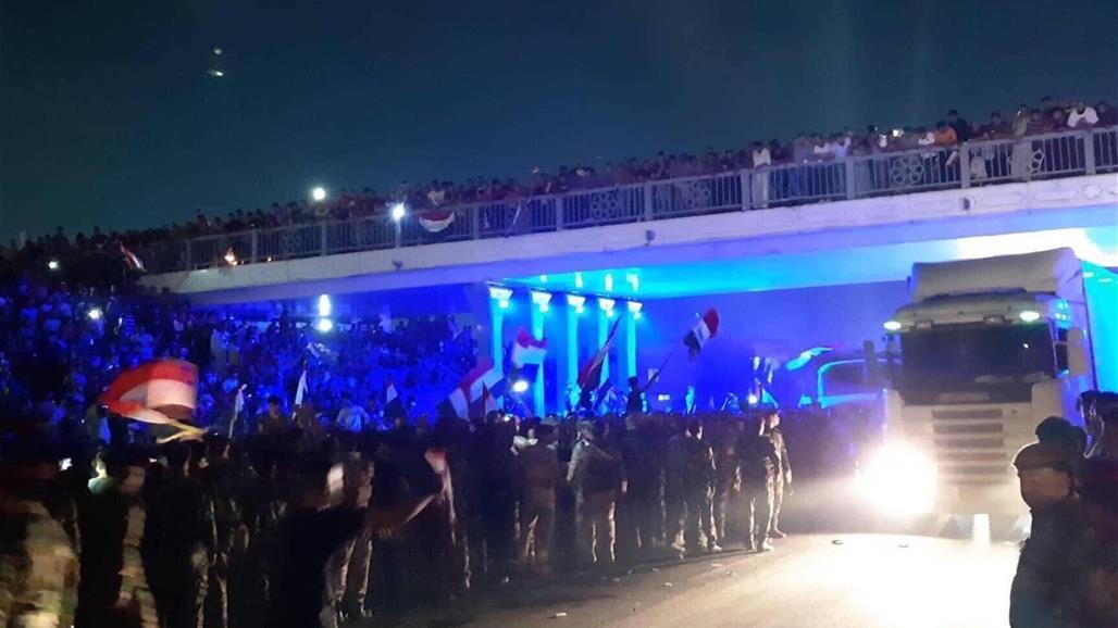 تظاهرات اسفل جسر الميكانيك في الدورة ببغداد وسط انتشار امني