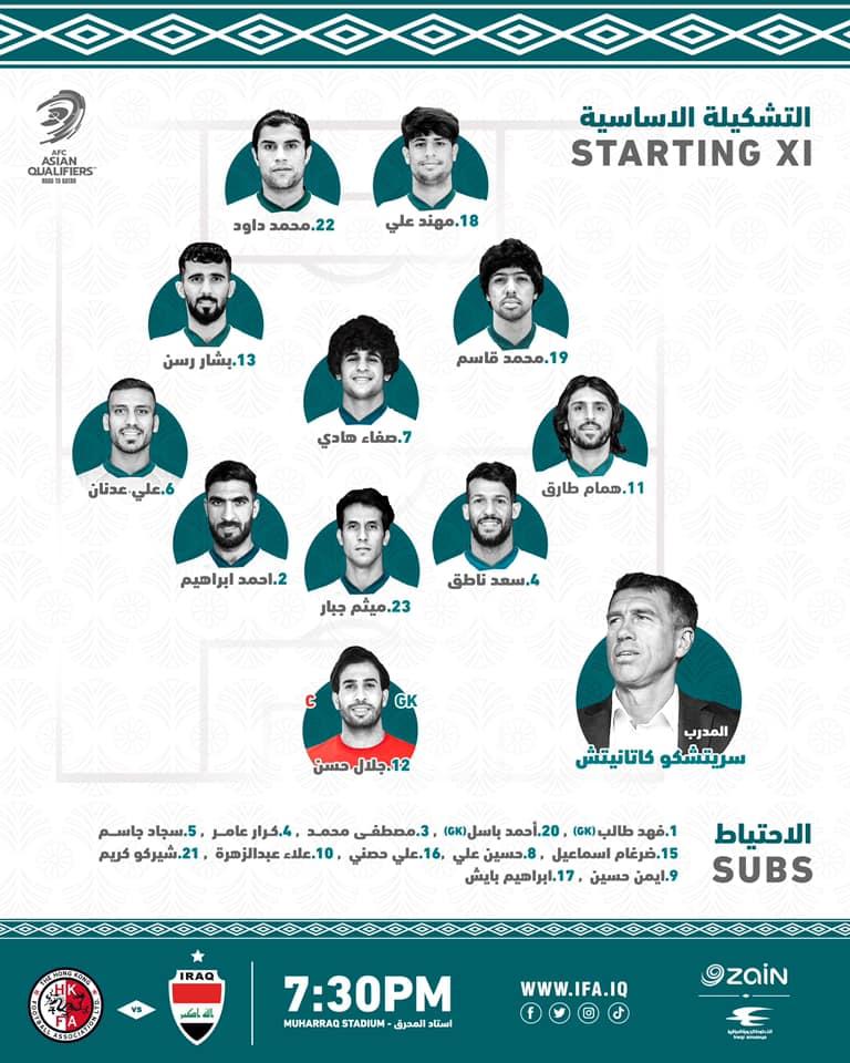 المنتخب العراقي امام هونغ كونغ وصحيفة العراق تنشر التشكيلة النهائية