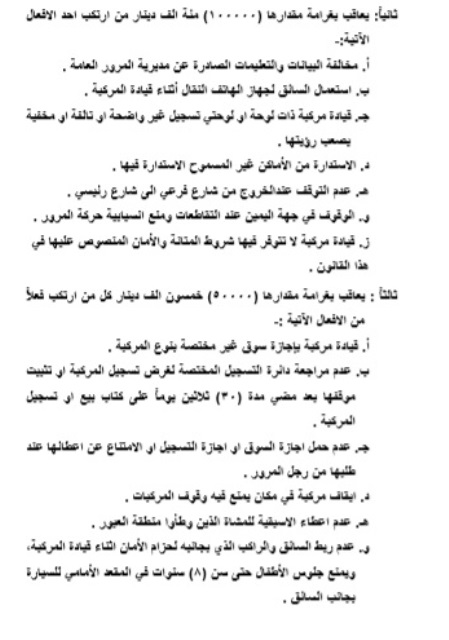 The text of the Traffic Law after its publication in the Iraqi fact sheet ExtImage-1056442-832137344