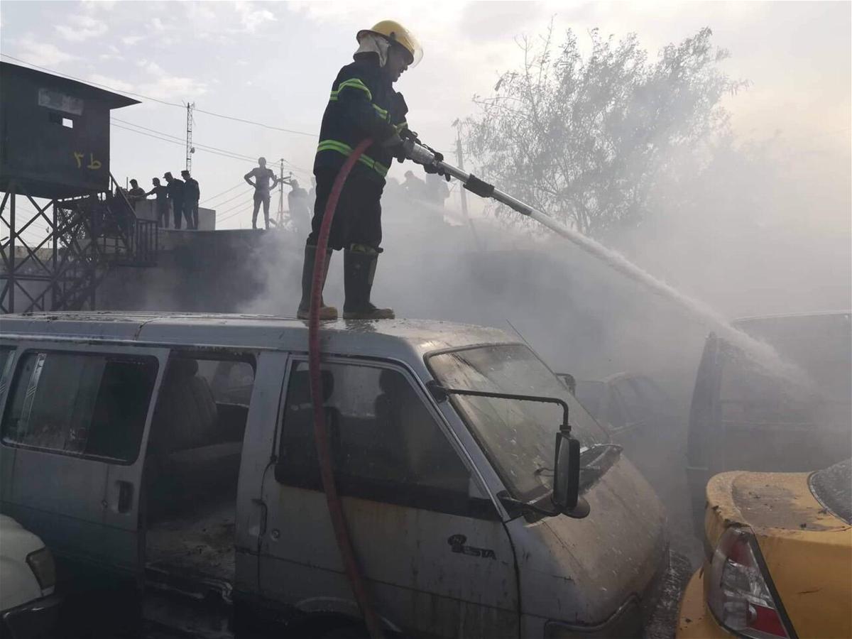 بالصور هذا ما خلفه حريق اللواء 14 حشد شعبي في بغداد