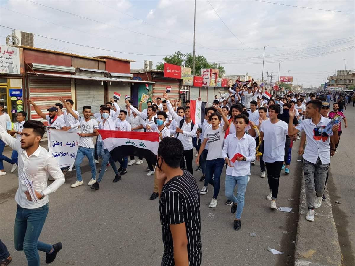 الان الشعب يزحف على ساحة النسور وقطع طريق 14 رمضان عند سيد الحليب ومنع التجوال في جتوب العراق