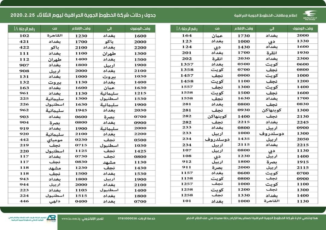 جدول الخطوط الجوية العراقية يظهر استمرار الرحلات الى ايران محليات