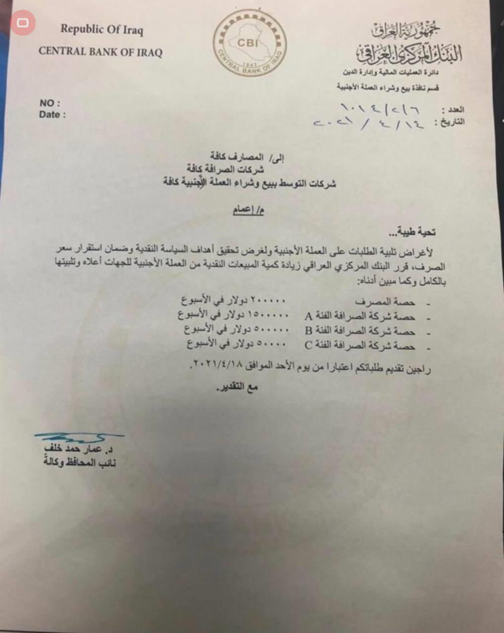 In the document - The Central Bank decides to increase its sales of hard currency